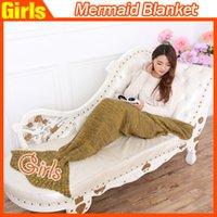 Wholesale New Arrival Mermaid Blanket Sleeping bags Handmade Crochet Mermaid Tail Blankets Cartoon Sofa Blankets Mermaid Tail Sleeping Bags DHL free
