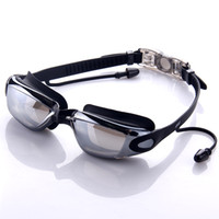 Wholesale 2016 Newest Large frame waterproof and anti fog swimming glasses with ear plug Sports Outdoors Water Sports