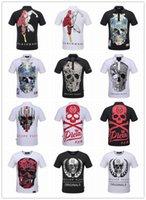 Wholesale New pp brand men solid t shirt cotton Short Sleeve PHILIPP PLEIN Men s T shirt Casual Homme hiphop Tshirt Camisetas top quality