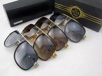 achat en gros de miroirs encadrés grands-DITA lunettes de soleil dita grandmaster cinq hommes marque designer lunettes de soleil rétro vintage brillant 18Kgold revêtement miroir lentille grand cadre cas original
