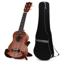 bags instrument cases - TOKKY quot Ukulele Sapele Hawaii Soprano Guitars Wooden Instrument with Carry Bag Uke with Gig Case Black Professional Use NEW