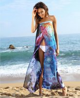 achat en gros de robes longues et longues sans bretelles d'été-New Summer Beach Printed Chiffon Front Split Women Bikini Cover ups 2017 Cheap Long Beach Beach Robe sans bretelles Sexy