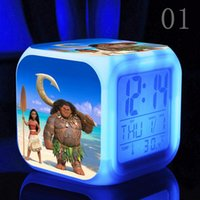 Wholesale New Cartoon Movie TV Moana Toys Action Figures Princess Presale Moana Maui Waialik Heihei Toys Colors LED Night alarm clock