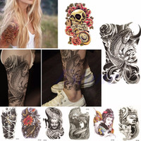 Wholesale Types Fashion Tatoo Men Women Large Sexy Tattoo Skull Temporary Body Arm Art Stickers Removable Waterproof New Flash Tattoo