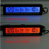 Wholesale v LCD Car Temperature Thermometer outside and inside Auto Alarm Digital Clock