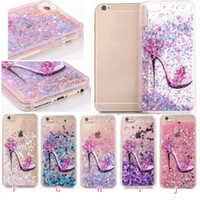 apple green heels - High heeled shoes Flower Heart Bling Liquid Glitter Hard PC TPU Case For Iphone P Plus S plus Quicksand Sparkle Moving Cover Skin