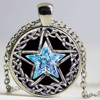 Pendant Necklaces South American Women's Silver plated necklaces Pentacle Star pattern glass Pendant necklace women men necklace body jewelry online shopping india