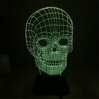 Cheap 3D Night Lights 7 Color Changing Skull USB Optical Illusion Home Decor LED Table Lamp Novelty Lighting Atmosphere for Holiday