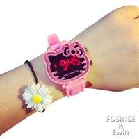 animal gel - DHL hello kitty Cartoon Child Gel watches fashion Quartz Kids led Wrist Watch Unique Xmas Gift