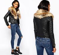 Wholesale 2017 New Winter Fox Fur Collar PU Leather Jacket For Women Slim Warm Quilted Zipper Jackets Coats Black Parka Jacket Outwear S XL FS0952