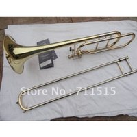 Vente en gros-Bach Gold Lacquer 42BO senior sandhi Tenor Trombone Importations 95 Alliage Cuivre Laiton Instrument Musical Bb Trombone tuba
