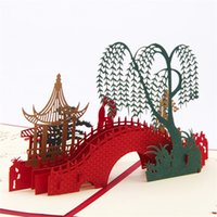 ba retail - 3D Landscape Paper Cards Postcards Stereo Pop Up Cards Bridge Willow life Chinese Gift for Greeting Invitations Travel Gift BA
