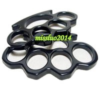 Wholesale 10PCS Silver Black Gold Thin Steel Brass knuckle dusters Self Defense Personal Security Women and Men self defense Pendant QK01 DHL Free