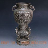 antique foo dogs - Chinese Hand Carved Silver Copper Louts Incense Burner w Foo Dog Lid S3321