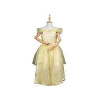 Wholesale Gold Beauty the Beast Belle Cosplay Elegant Costume Princess Court Dress For Girls Kids Children Halloween Carnival Party