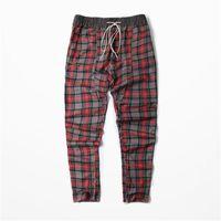 Wholesale Fear of god Men Plaid Pants Fashion Scotch Lattice Kanye Man Compression Pants High Street Justin Bieber FOG Hombre Trousers