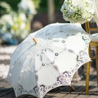 Wholesale Bridal Accessories Wedding Lace Parasol White Lace Umbrella Victorian Lady Costume Accessory Bridal Party Decoration Photo Props
