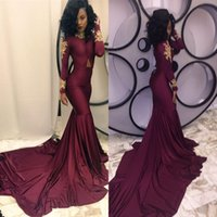 Wholesale Burgundy Evening Gown Mermaid Prom Dresses with Long Sleeve High Neck Lace Long Formal Pageant Gowns vestidos de noiva Chapel Train