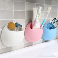 Wholesale 2017 Toothbrush Holder Suction Cup Organizer Bathroom Kitchen Storage Tool Storage Box for Home Decor cm Colors