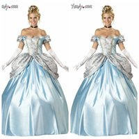 adult birthday costumes - JALON European American Cinderella cosplay costumes Dress Halloween Blue Princess birthday present Gift Summer Adult Gown