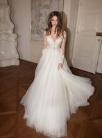 Wholesale 2016 wedding dresses Illusion Bodice Tiered Skirts Wedding Dresses Sexy Deep V neck Bridal Ball Gowns Backless Lace Wedding Dress
