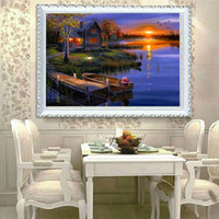 Wholesale 5D DIY Landscape Night View River Full of Diamond Painting Cross Stitch Kits Over drilling Home Decoration