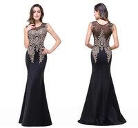 Wholesale 2017 New In Stock Sheer Cap Sleeves Mermaid Prom Dresses Lace Full Length Satin Sexy Long Evening Gowns Vestios Cheap Party Dresses cps250