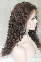 Wholesale 8 quot quot Long fashion Malaysian Curly Charming for women Lace Front Wig Full lace wigs Chinese Remy Virgin Human Hair full lace wigs