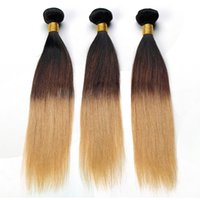 Wholesale Brazilian Ombre Hair Straight Remy Human Hair Bundles Unprocessed Double Weft Ombre Weave Inch End No Tangle