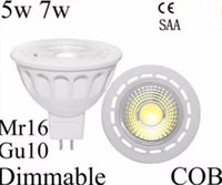 High Power CREE Led Spotlight Cob 5w 7w Gu10 Mr16 Dimmable Led Lamp Bulb Lights 600lm 60 angle de faisceau chaud cool blanc 12v 85-265v LLFA