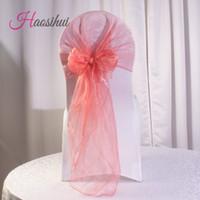 100 pcs / lot 15 couleur option Wedding Organza Chair Cover Sashes Sash Party décoration de mariage Bow