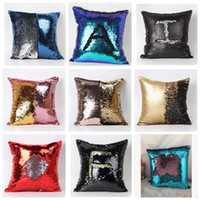 Wholesale Double Sequin Pillow Case cover Glamour Square Pillow Case Cushion Cover Home Sofa Car Decor Mermaid Bright Pillow Covers with Colors