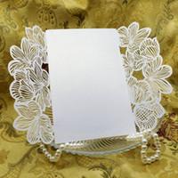 Wholesale Fashion Wedding Invitation Card White Damask Flower Silk Ribbon Party Birthday Laser No Envelope No Blank Inner Sheet