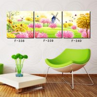 Digital printing windmill wall art - 3 Set fairy tale windmill HD High Quality Cheap Modern City Views Art Pictures Modern Canvas Wall Art Print Painting For Home Decor
