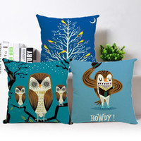 Wholesale Owl throw pillows pillow covers with double sides printing linen cotton throw pillow case x17 inch
