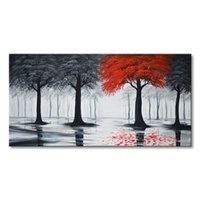 Wholesale Pure Handmade Large Canvas Oil Painting Modern Black and Red Forest Tree Wall Art Huge Abstract Landscape Artwork For Living Room Bed Room
