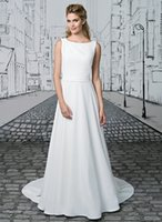 adorn crystal beads - A line Pleated Details adorn the Shoulder Wedding Dress Embroider with Crystals Sheer Back Bridal Dress maio praia