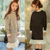 Wholesale 2016 New Arrival Autumn Fashion Cotton Clothing Sets Hoodies Skirt Set Gray Black Color Sets Children Clothing Sets ER8834