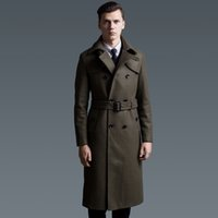 army pea coat - Extra long wool coat male British double breasted woolen trenchcoat mens slim fit classic army green warm pea coat plus size