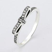 achat en gros de bow pandora-Authentique 925 Sterling Silver Ring Fine Arôme pétillant avec des bagues en cristal pour les femmes compatible avec les bijoux Pandora HRA0001
