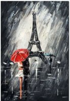 Wholesale Romantic Paris Hand painted Modern Abstract Art Oil Painting On Quality Thick Canvas Multi sizes available Ab011