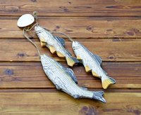 Les cadeaux créatifs méditerranéens Hand-sculpté en bois poisson artisanat accessoires salle à manger mur agir le rôle de
