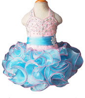 Wholesale Gorgeous Hot Sale Baby Girls Halter Pageant Tutu Dress Toddler Girls Ruffles Crystal Short Mini Ball Gowns Infant Formal Wear Fashion Gowns