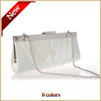 Wholesale Long Off Shoulder Bags - 50% Off Handwoven Satin White Evening Bags Women Party Purse Day Clutch Bags with Long Chain bolsa feminina 8 Colors