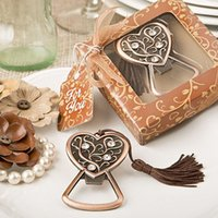 Wholesale 15pcs Just Arrival Popular Party Favor Supplies Antique Gold Heart Bottle Opener With Gift Box