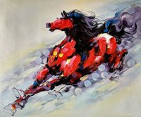 art wildlife - Running Horse Pure Handpainted Wildlife Animal Art Oil Painting On High Quality Canvas customized size accepted golden