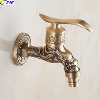 Wholesale New Europe Style Carved Washing Machine Faucets Antique Single Holder Shower Faucet Vintage Bathroom Brass Wall Tap