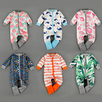 baby dolphins - Baby Ins Onesies Fashion Romper Leaf Animal Jumpsuits Long Sleeve Bodysuit Ins One Piece Romper Ins Jumpers Dolphins Flower Pajamas LD9