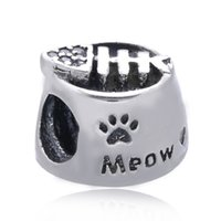 Compra Gatos de perlas-Real 100% 925 de plata esterlina gato de alimentos para gatos Bead encanto con claro cúbicos Zirconia Fit Pandora pulsera original Diy Joyería