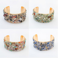 Wholesale Cuff Bracelets Jewelry Fashion Women Vintage High Quality Colorful Beads Gold Plated Alloy Bracelets BR460